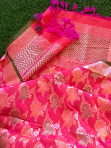 Banarasee pure Chanderi Silk Dupatta 046