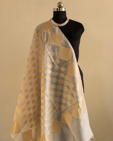 Banarasee Pure Chanderi Silk Dyeable Dupatta 083