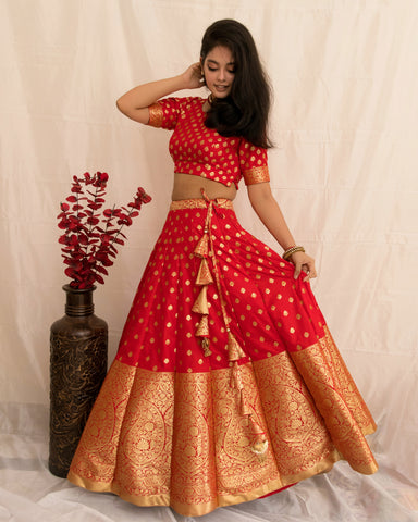 ••• UTSAVA ••• BANARASEE SILK KALIDAAR LEHENGA- 027- MADE TO MEASURE