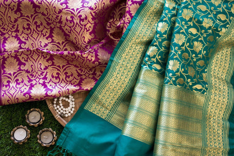Banarasee Satin Brocade Silk Fabric 103 - PRE CUT FABRIC OF 0.80 MTS