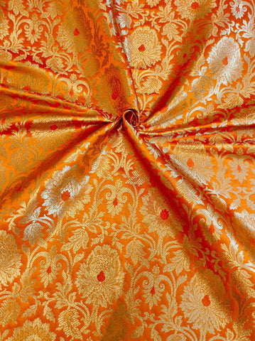Banarasee Satin Brocade Silk Fabric 066