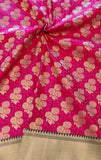 BANARASEE SATIN BROCADE CONTRAST SKIRT BORDER SILK FABRIC 089