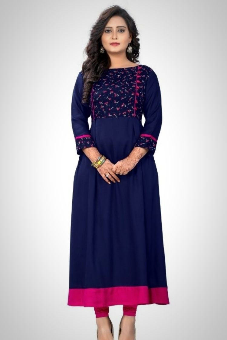 Long A-line Indigo Pink Kurti with Embroidery