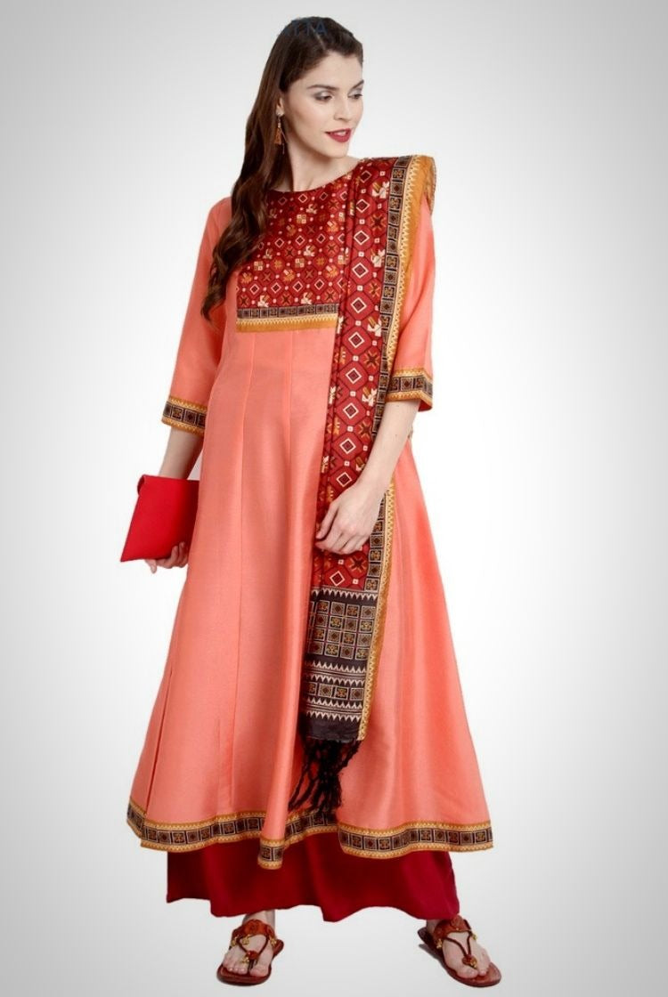Peach Poly Silk Anarkali Kurti with Duppatta