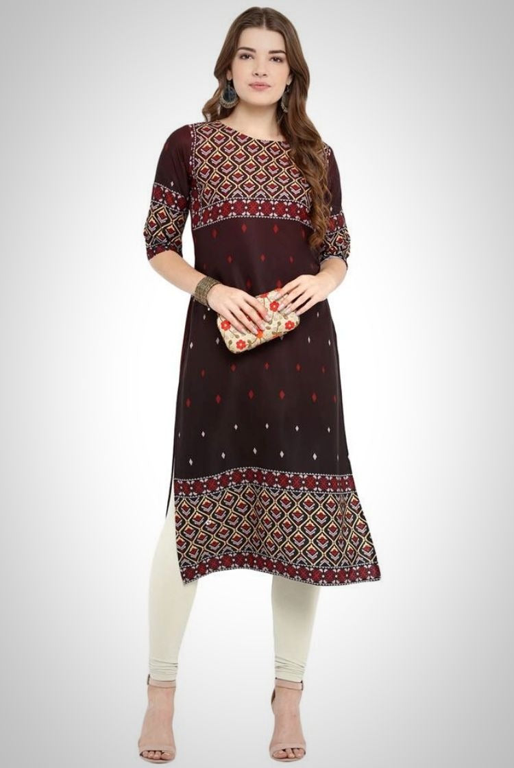 Brown Straight Crepe Kurti