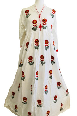 Long White Cotton Kurti with flower embroidery