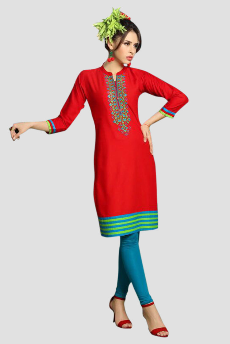 Red Kurti with Thread work