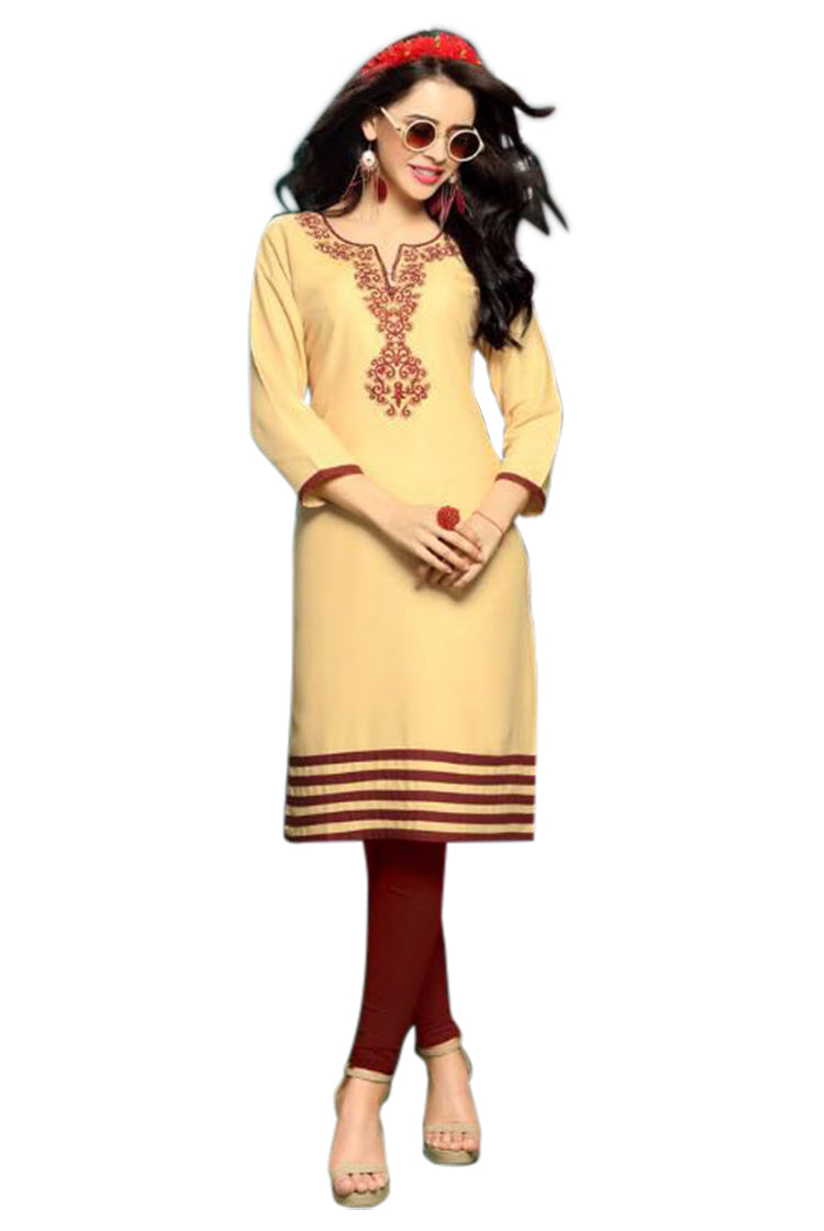 Beige Kurti with Thread work