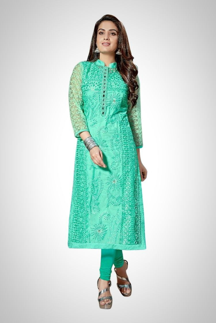 Mint Green Chikankari Kurti with inner & legging set
