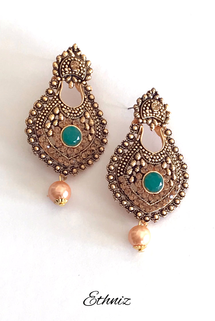 Bronze Earring with center Green Stone and hanging Pearl