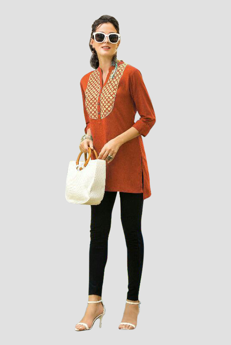Ethniz- Short Cotton Kurti - Bronze Orange