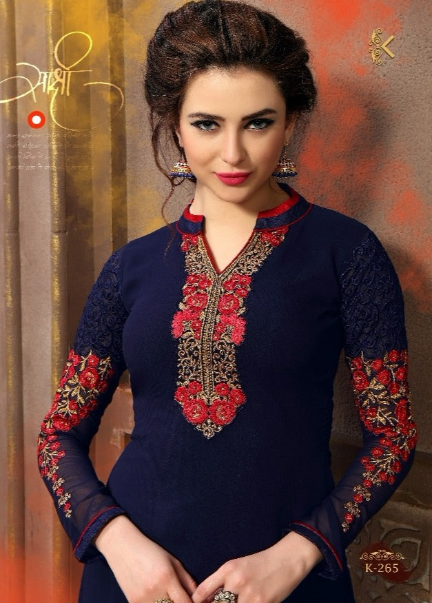 Georgette Party wear Kurti- Navy Blue