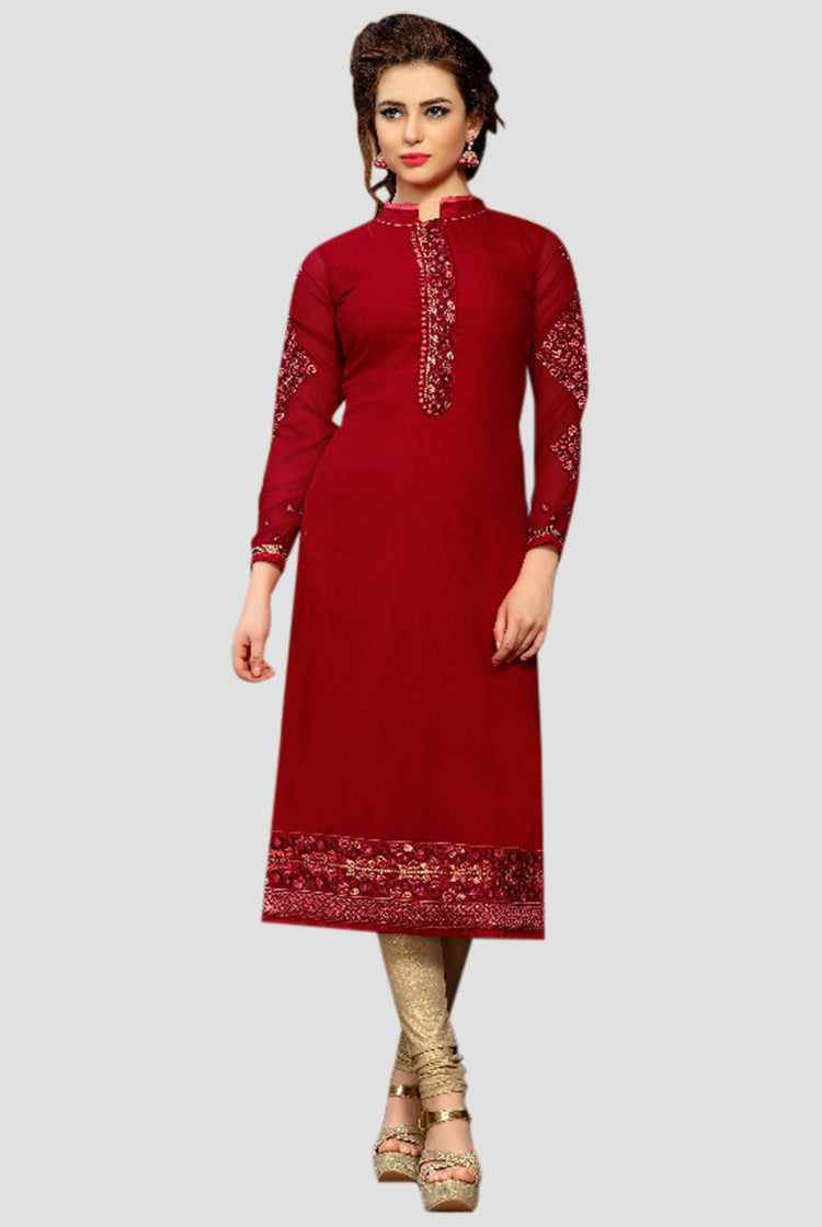 Georgette Party wear Kurti- Wine Red