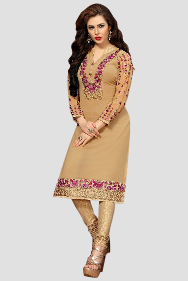 Georgette Party wear Kurti- Beige
