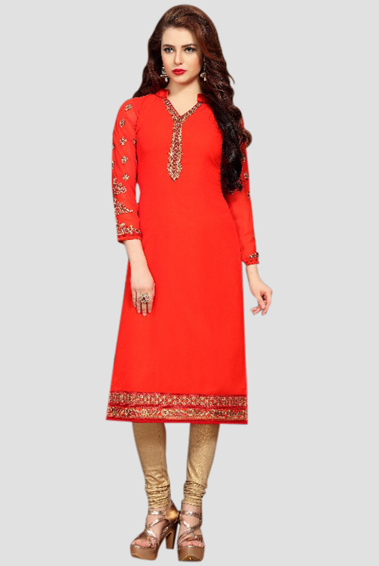 Georgette Party wear Kurti- Red