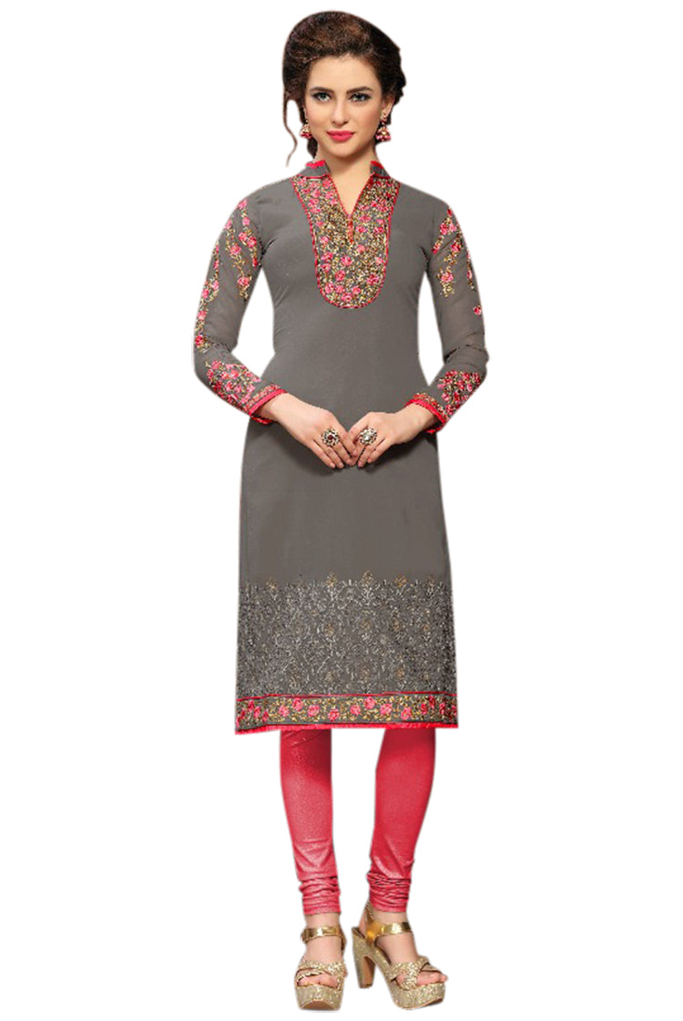 Georgette Party wear Kurti- Grey & Pink