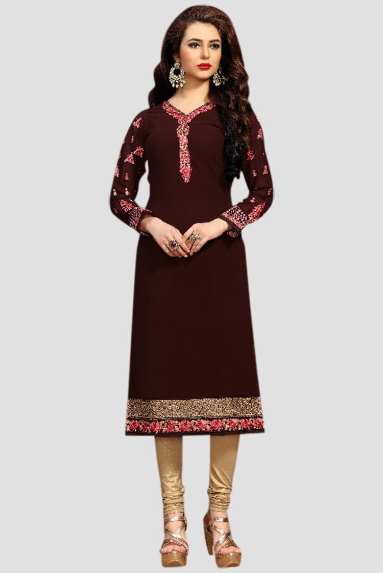 Georgette Party wear Kurti- Brown