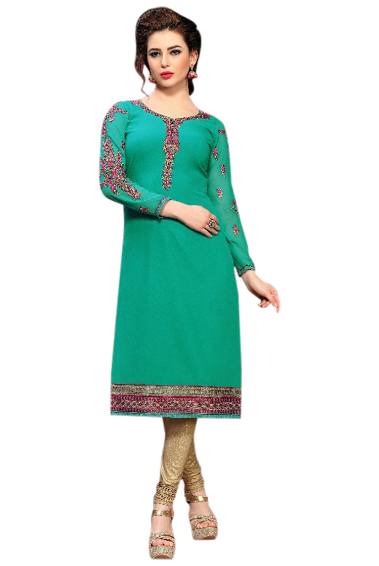Georgette Party wear Kurti- Green