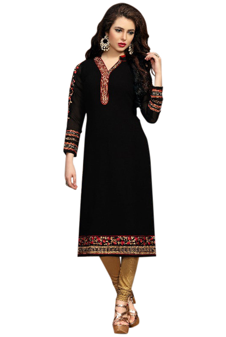 Georgette Party wear Kurti- Black
