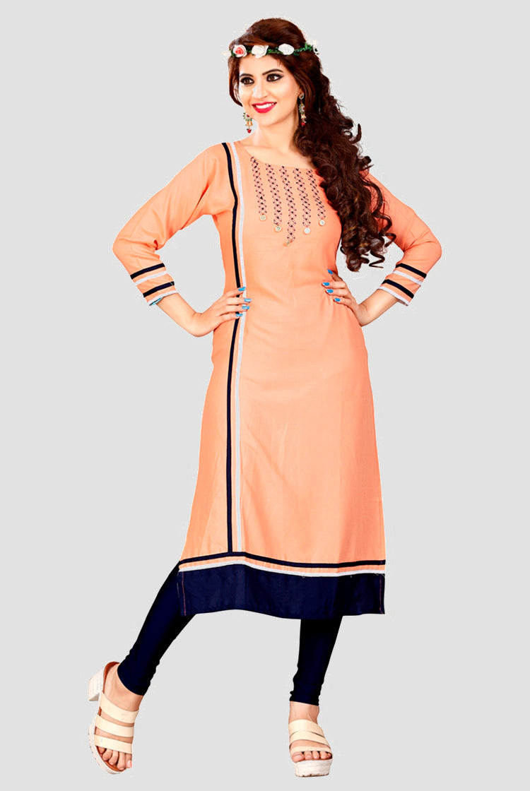 Peach Kurti with embroidery