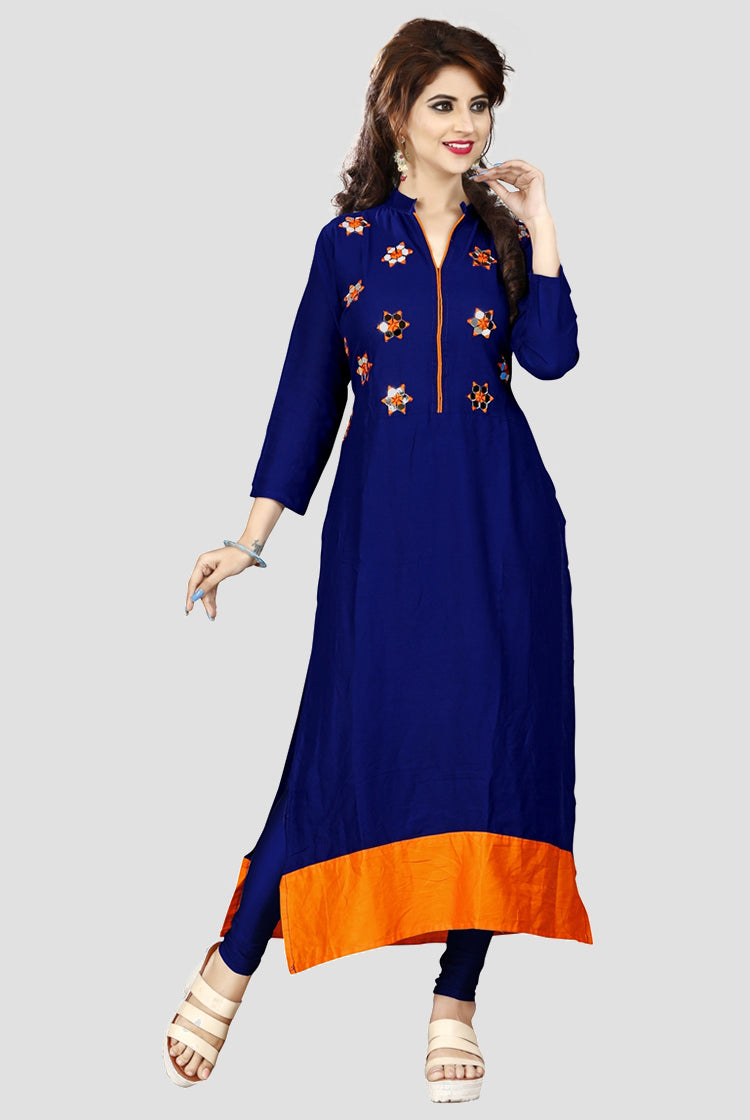 Indigo Kurti with Flower embroidery