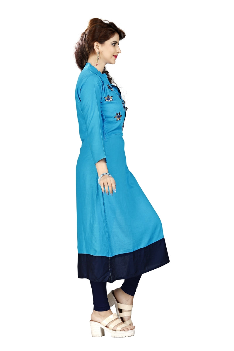 Sky Blue Kurti with Flower embroidery