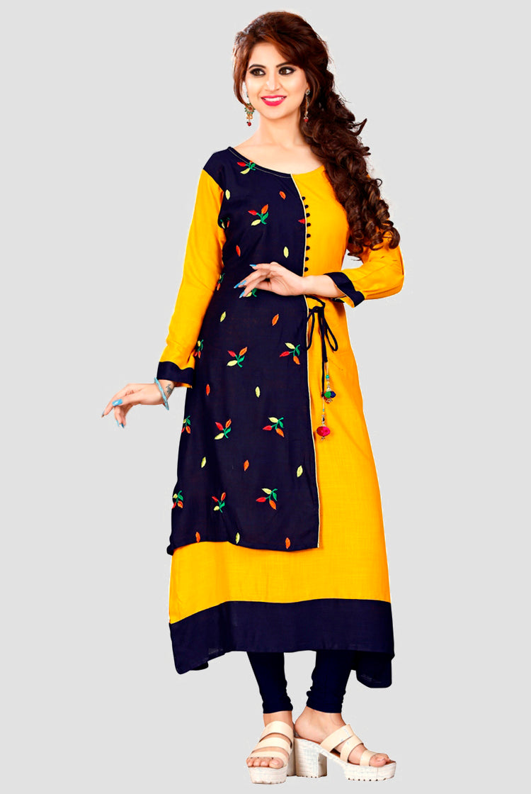 Yellow Kurti with Flower Pattern