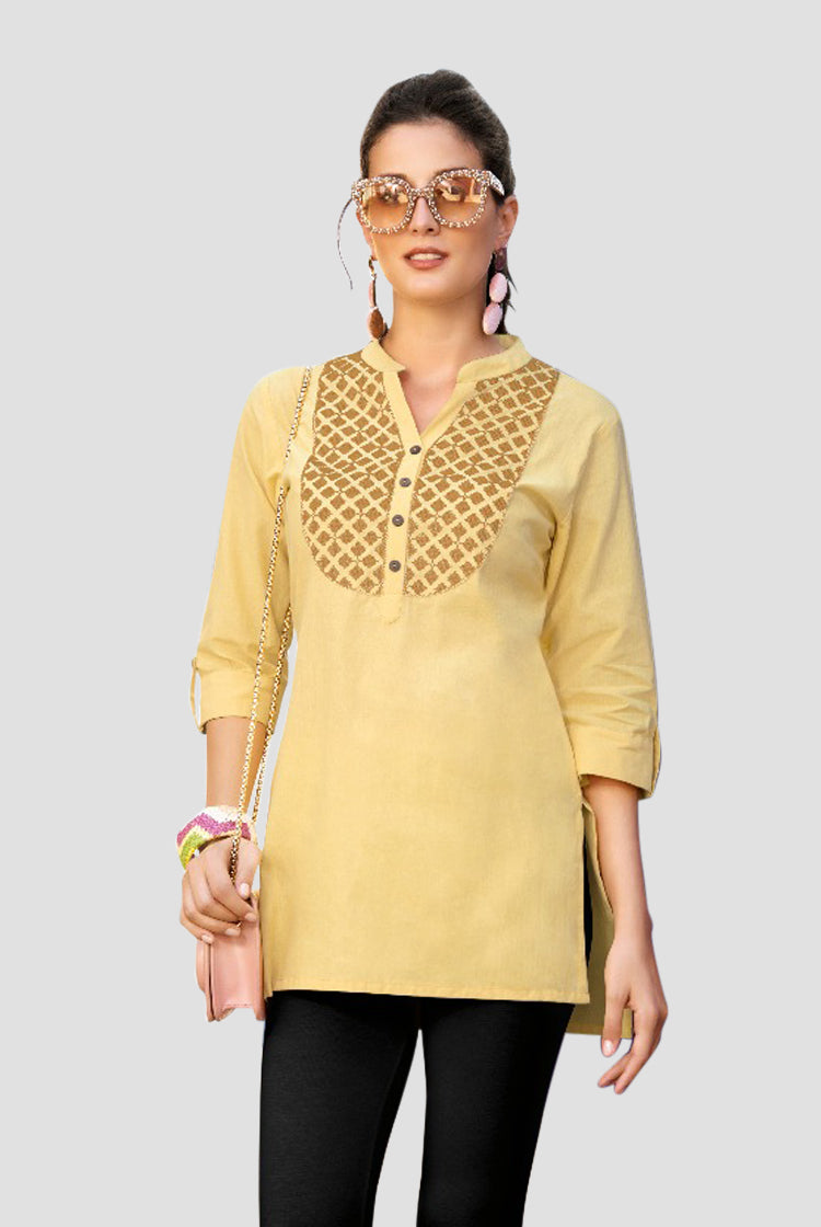 Ethniz- Short Cotton Kurti - Light Yellow