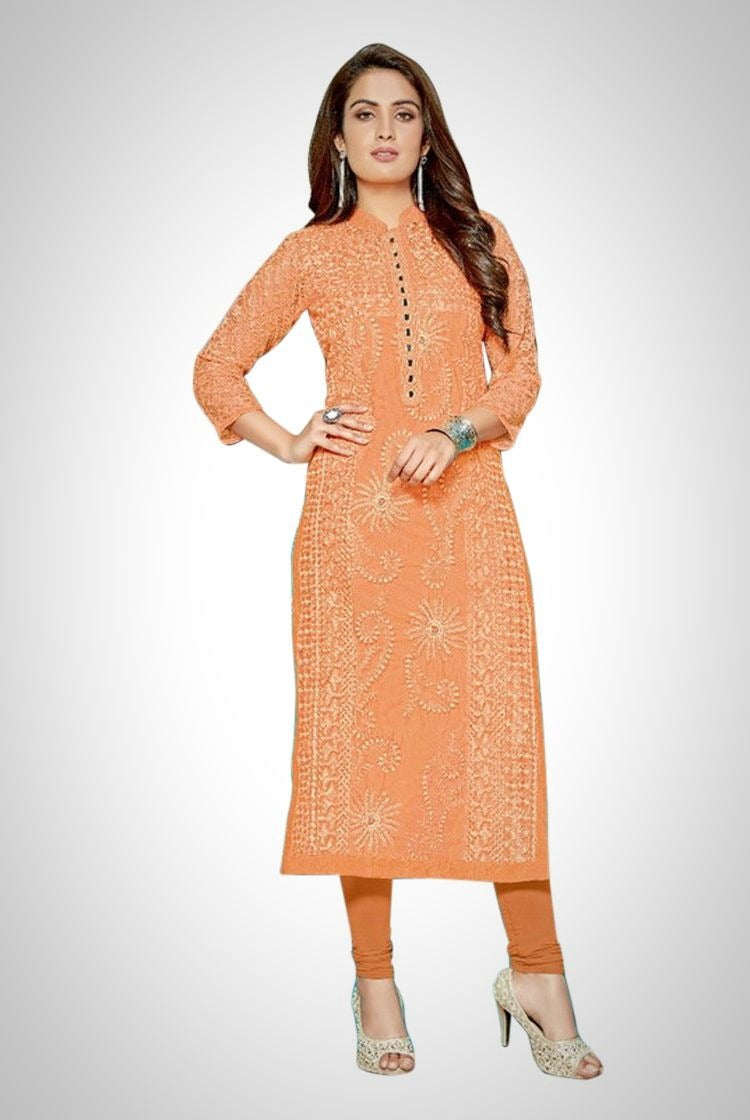 Ethniz - Orange Chikankari Kurti with inner & legging set
