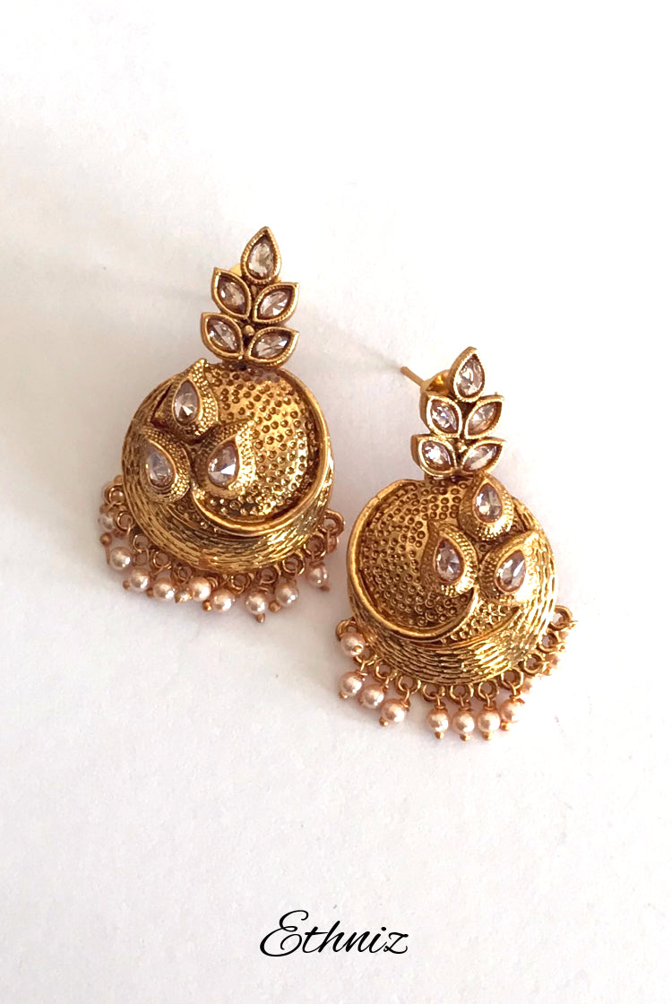 Round Golden Color Earring with small moti