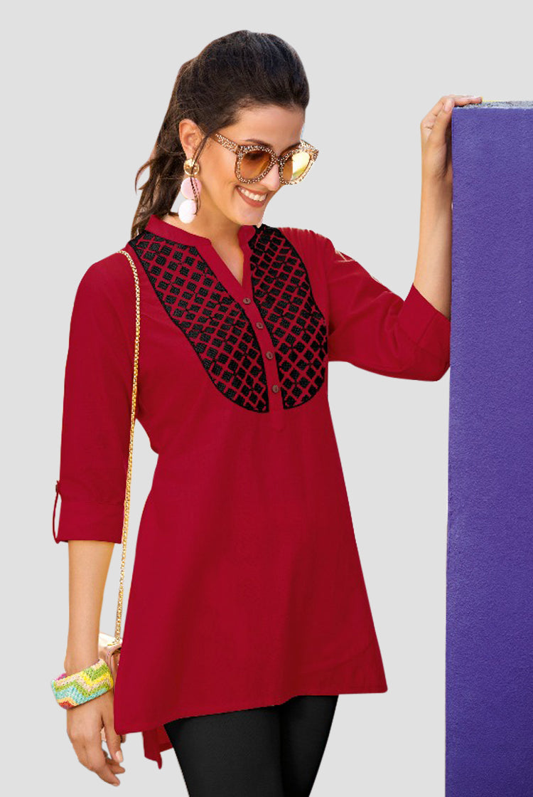 Ethniz- Short Cotton Kurti - Red