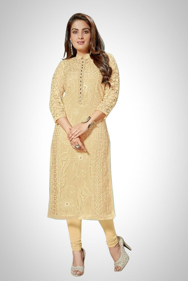 Vanilla Yellow Chikankari Kurti with inner & legging set
