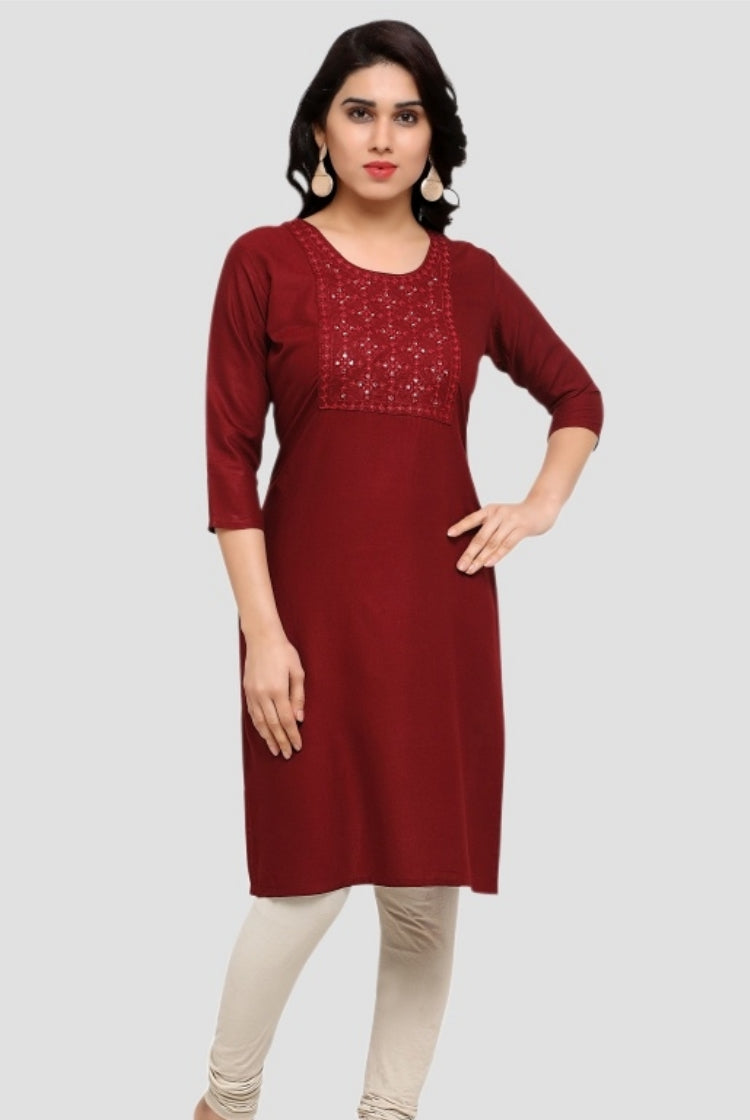 Crimson Red Embroidery Kurti