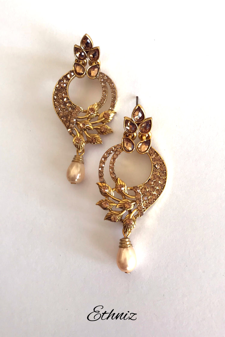 Rose Gold Stone earring with Leaves design