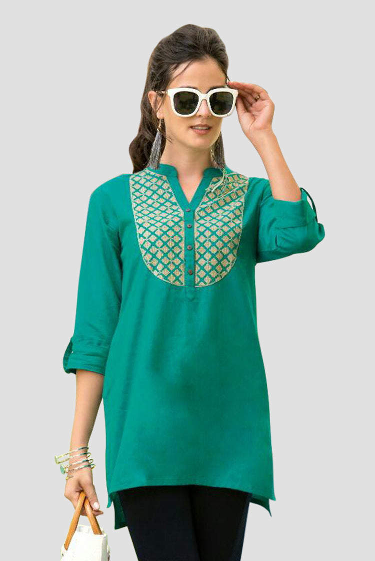 Ethniz- Short Cotton Kurti - Sea Green
