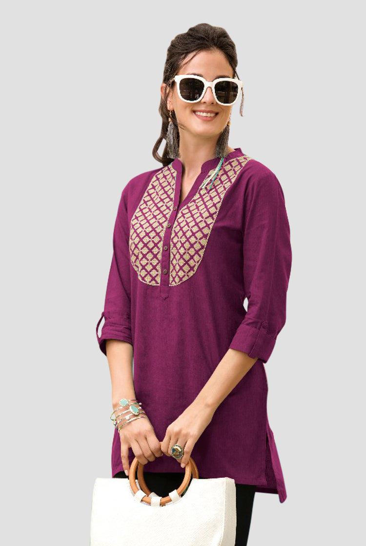 Ethniz- Short Cotton Kurti - Burgandy