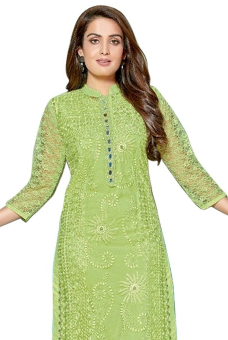 Lime Green Chikankari Kurti with inner & legging set
