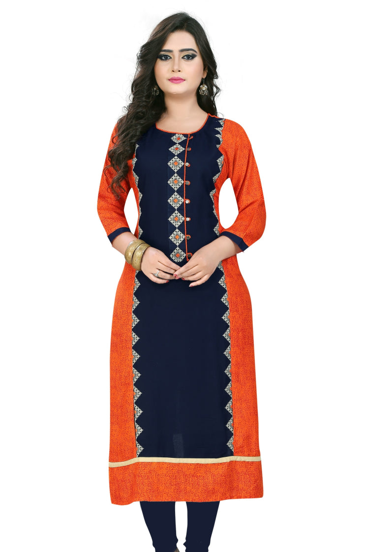 Orange and Indigo Self Print & embroidery Kurti