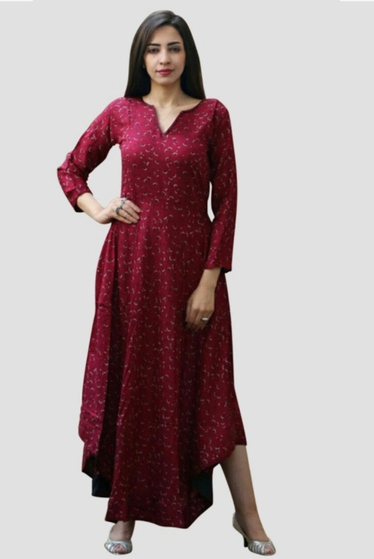 Anarkali Wine Red Designer Rayon Long Kurti