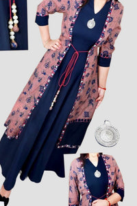 Long Navy Blue Cotton Kurti with attached jacket