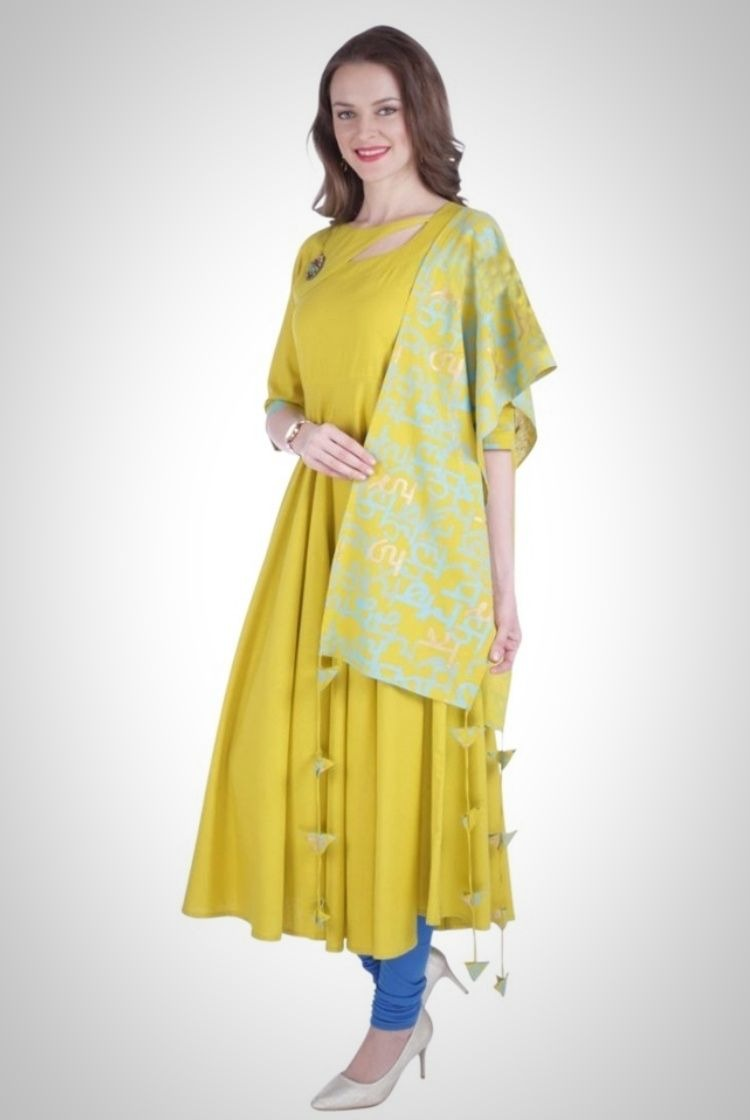 Lime Tart color Long Cotton Kurti with a printed stole