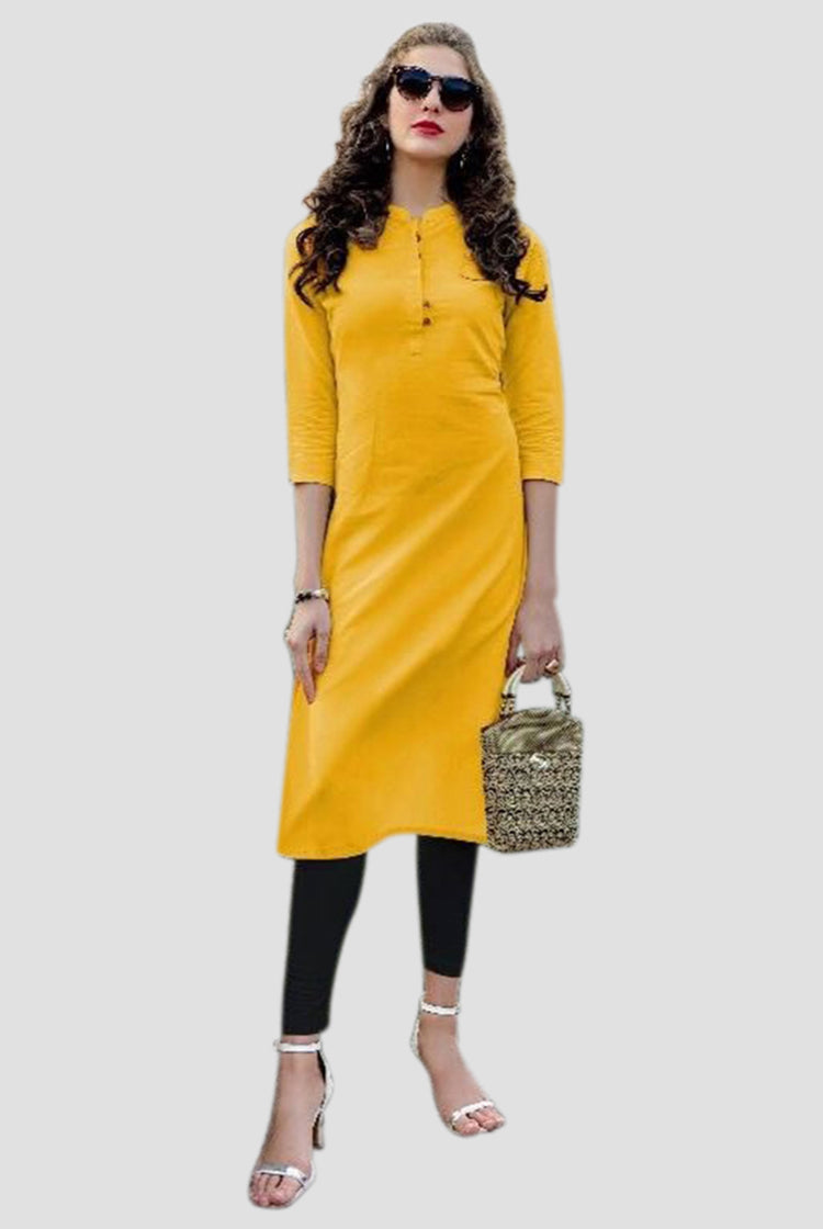Cotton Collar Kurti in Mustard Yellow