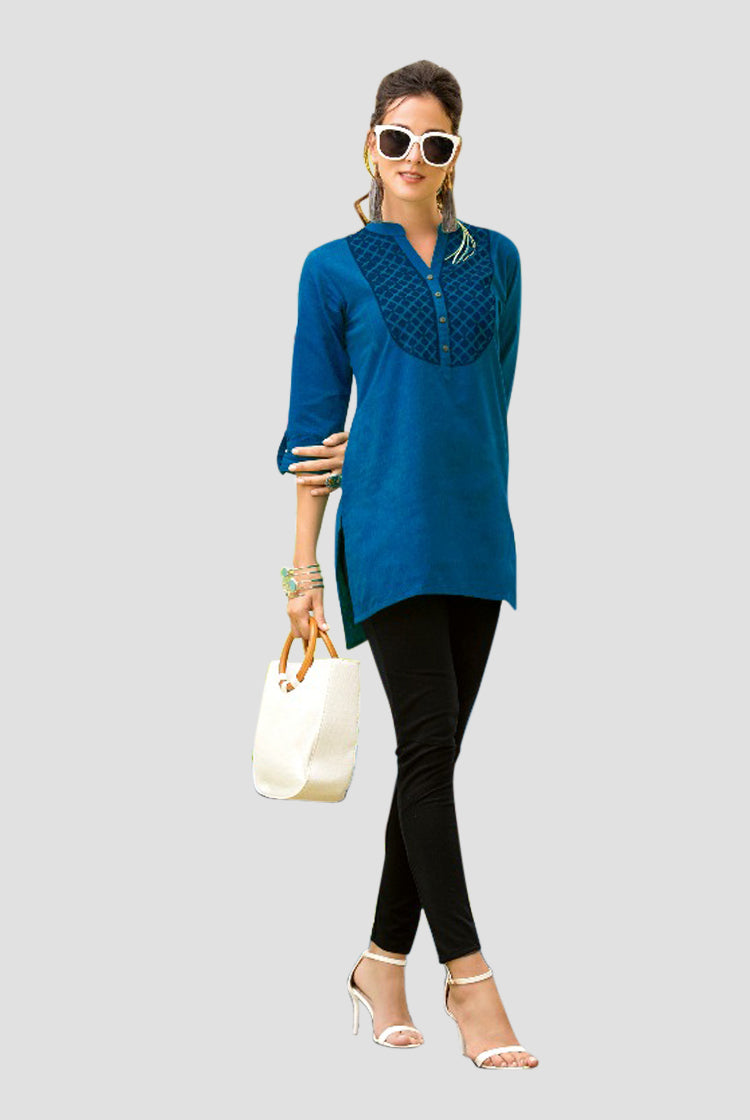 Ethniz- Short Cotton Kurti - Blue