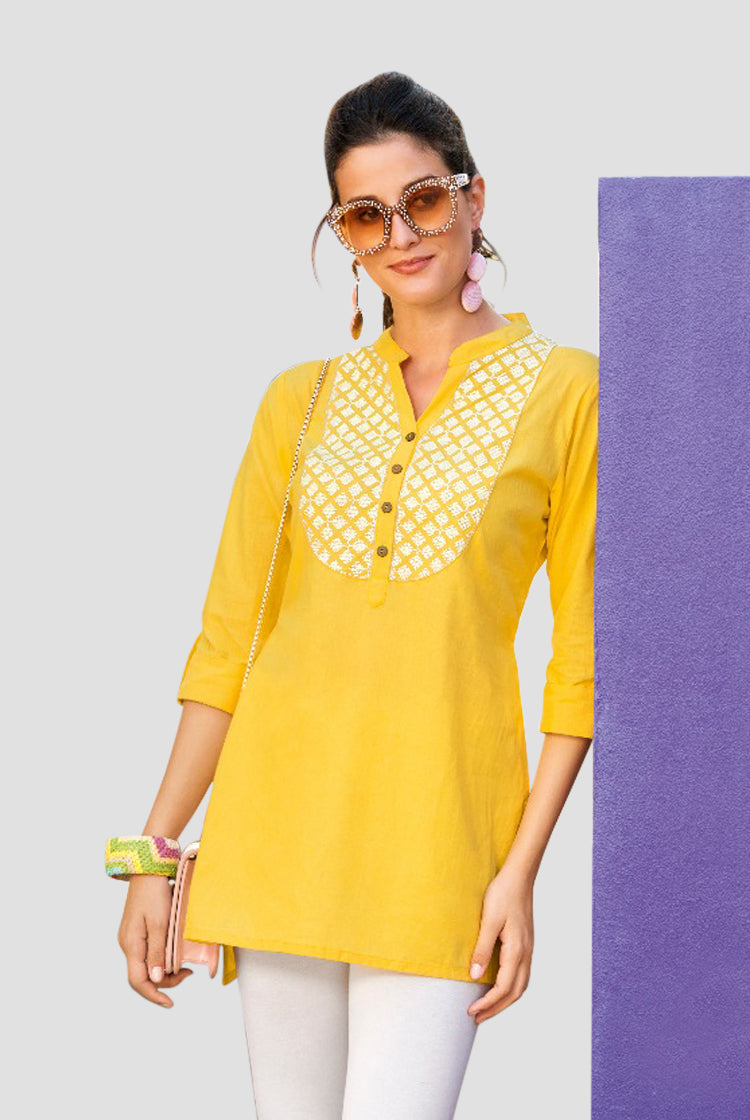 Ethniz- Short Cotton Kurti - Yellow
