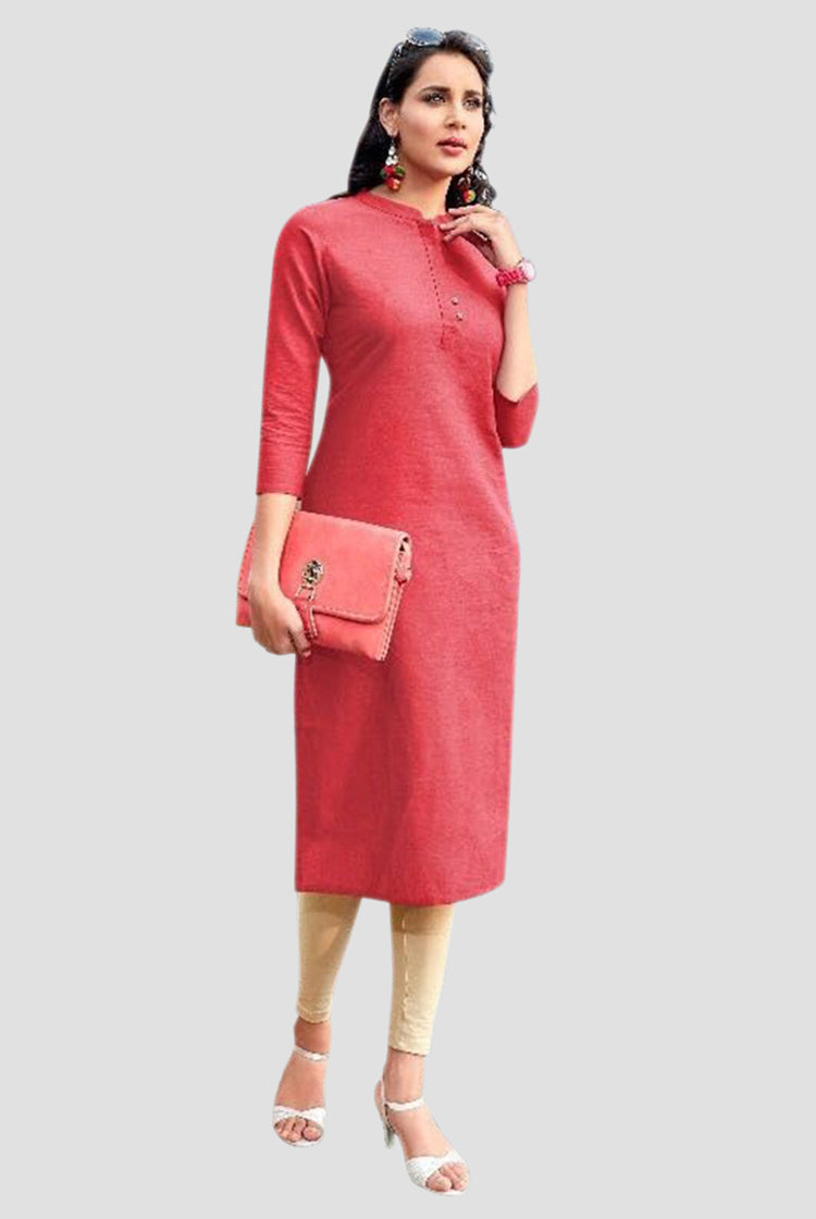 Cotton Collar Kurti - Pink