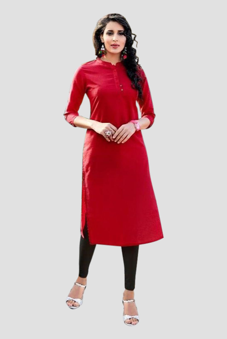 Cotton Collar Kurti - Red