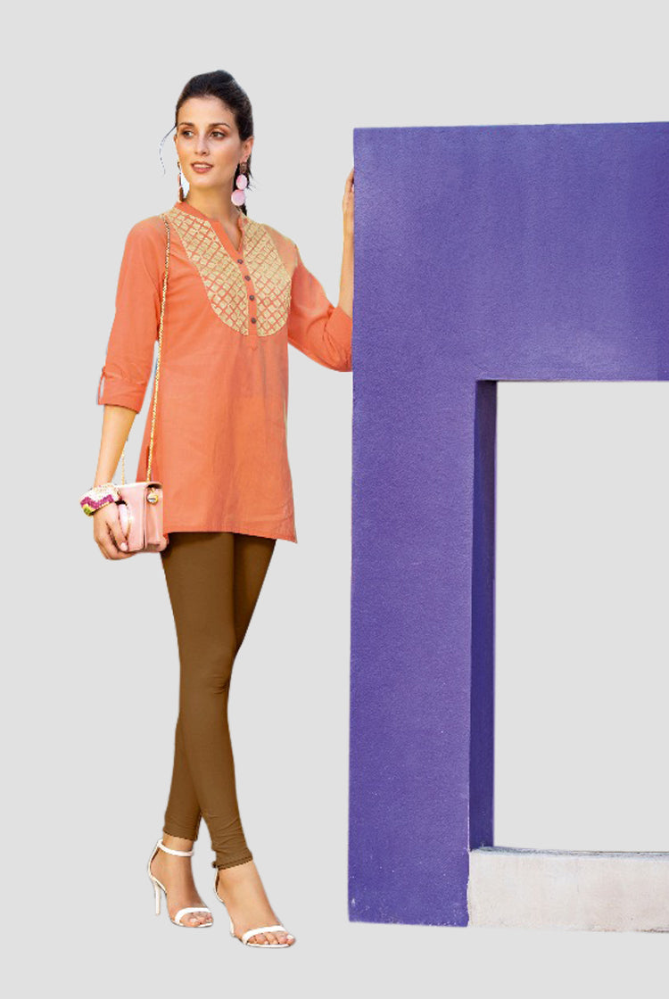 Ethniz- Short Cotton Kurti - Orange
