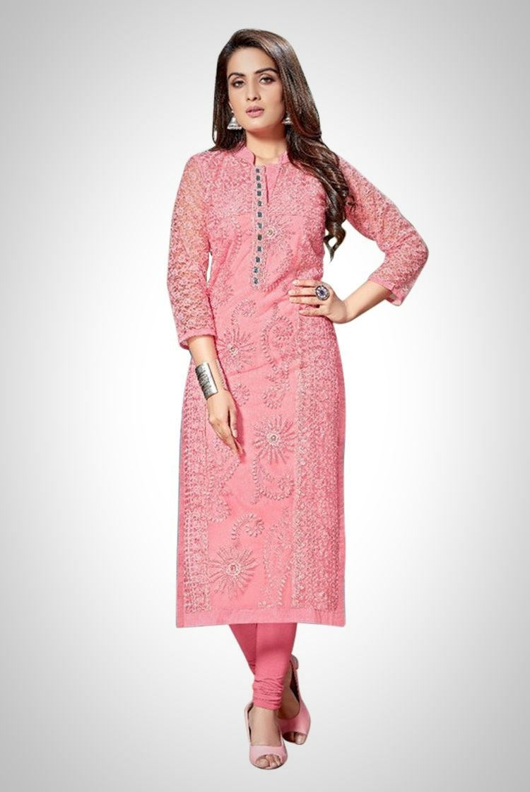 Pink Chikankari Kurti with inner & legging set