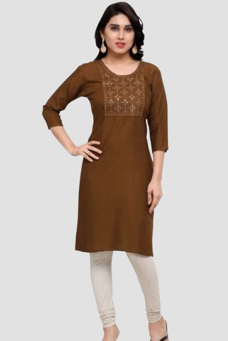 Brown Kurti with embroidery