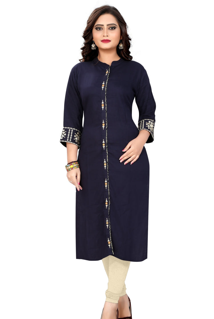 Indigo Blue Kurti with front Lining